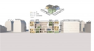 Three different room types connected by the space+ – in the urban context as well as in the prototype